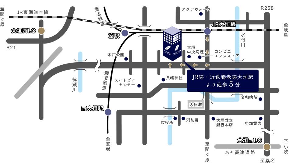 JR大垣駅からのイラストルートマップ