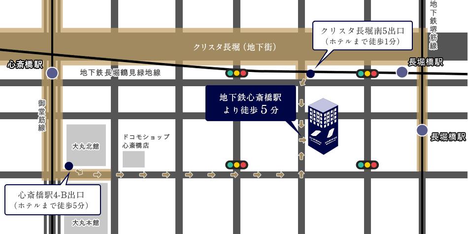 心斎橋駅・長堀橋駅からのイラストルートマップ